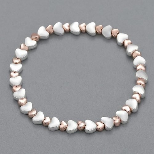 Elasticated Double Heart Silver And Rose Gold Bracelet