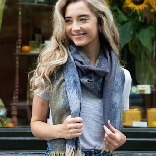 Navy And Mustard Feather Winter Scarf
