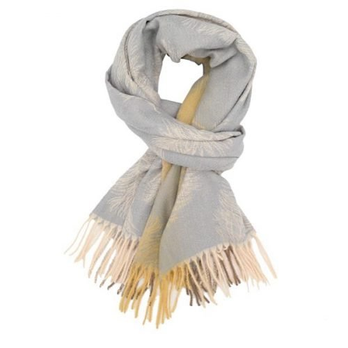 Grey And Lemon Feather Winter Scarf