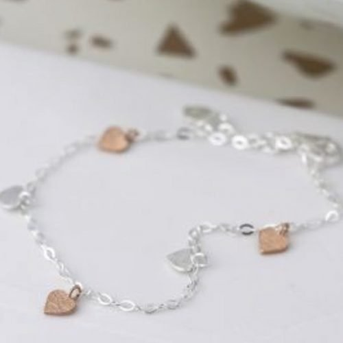 Mixed Hearts Fine Chain Sterling Silver Bracelet