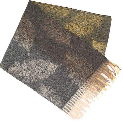 Dark Grey Feather Winter Scarf