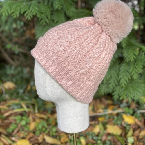 Pink Cable Cashmere Blend Hat