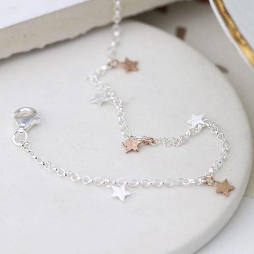 Mixed Stars Fine Chain Sterling Silver Bracelet